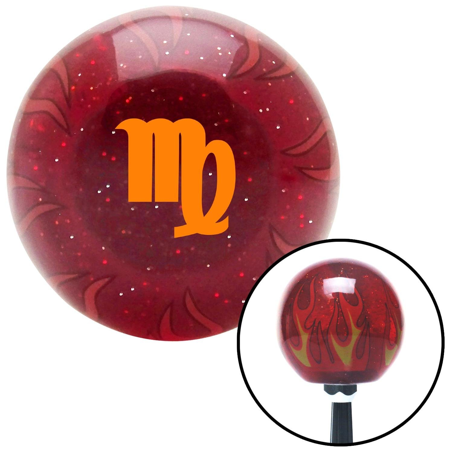 American Shifter 296906 Shift Knob Orange Virgo Red Flame Metal Flake with M16 x 1.5 Insert