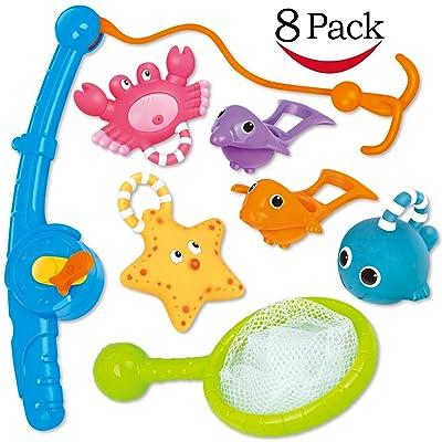 Jouet de bain, pêche flotant jouets et soucoupe d'eau avec sac d'organisation (Pack 8), YeoNational Jouets Poisson filet jeu dans baignoire salle de bain piscine heure du bain pour enfants bambins béb