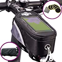 BTR Bicycle Frame Bike Bag & Mobile Phone Holder GEN1- The Original – with Option to add Waterproof Cover To Protect ALL Your Valuables From The Rain – Fits ALL Bikes PLUS 6 PUNCTURE REPAIR PATCHES