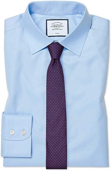 Charles Tyrwhitt Camisa Azul Celeste de Sarga Extra Slim fit sin Plancha: Amazon.es: Ropa y accesorios