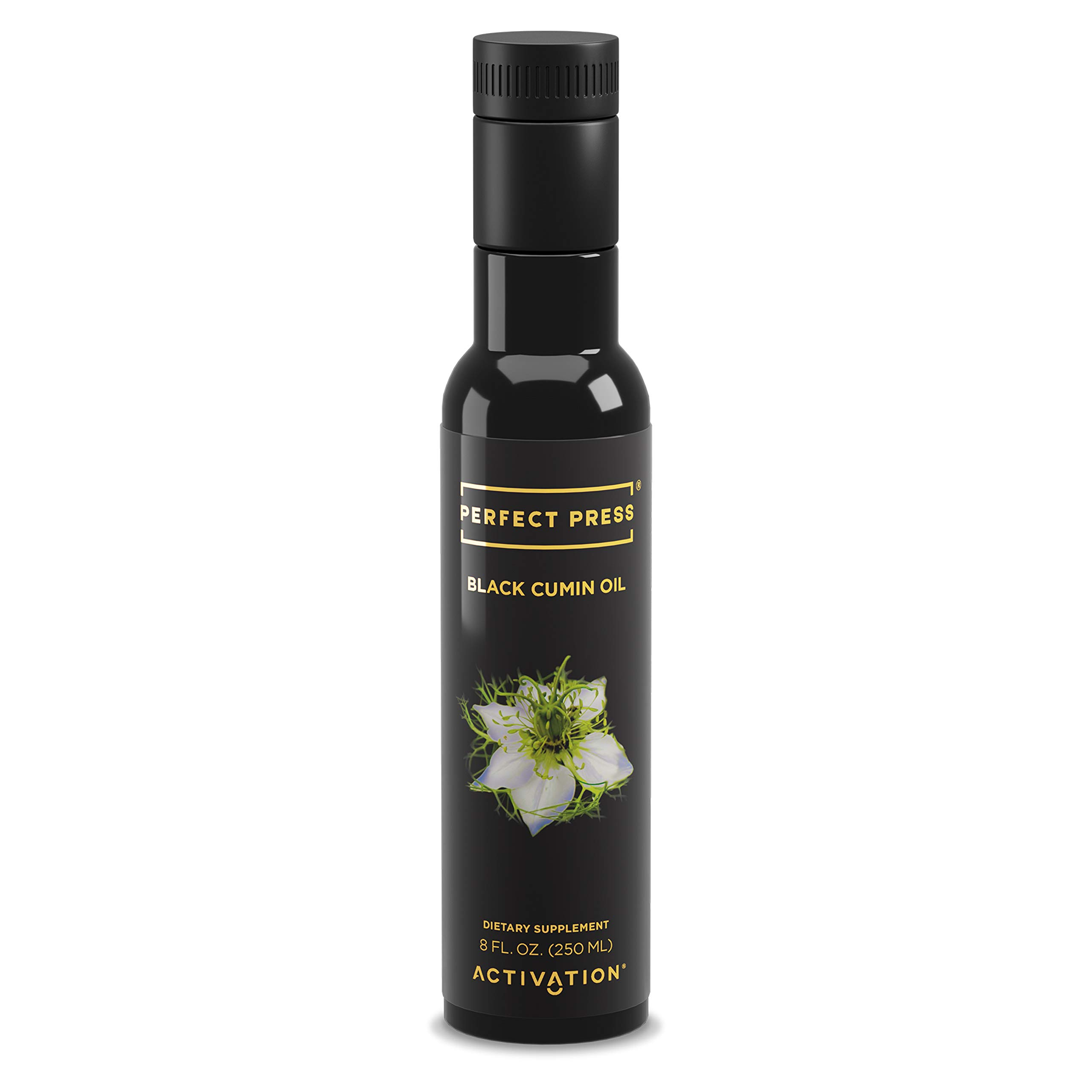 Activation Products, Perfect Press Black Cumin Seed Oil - Vegan, Organic and Gluten Free Pure Nigella Sativa - Digestive Support, Immune System Booster, Loaded with Vitamins B1 B2 B3, 250ml