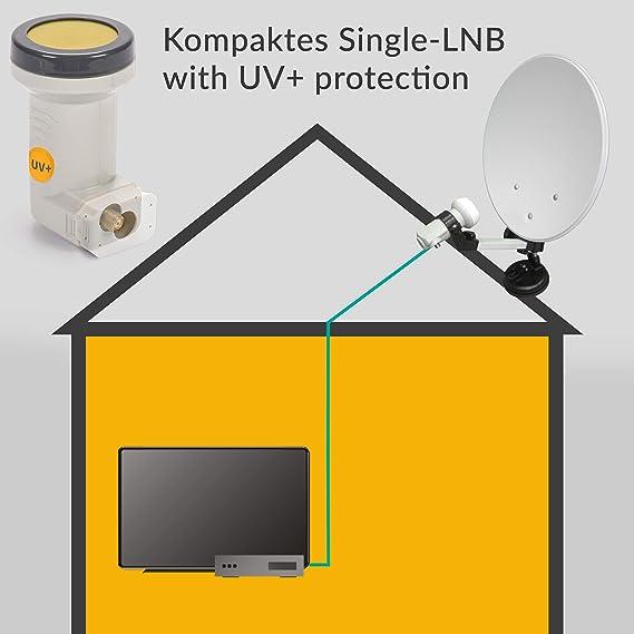 AX LNB digital imita la protección solar (Resistente al frío y al calor -35 ° C ~ 70 ° C) Filtro LTE, 1-4 abonados, 0.1 dB, 1 x Full HD, 4K UHD, 3D, ...