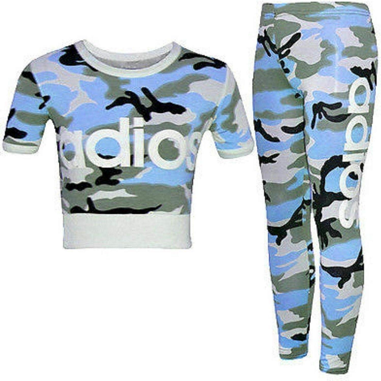 AMELIA TEXTILES Kids Girls Adios Camuflaje Militar Army Crop Top /& Legging Edad 7-13 a/ños