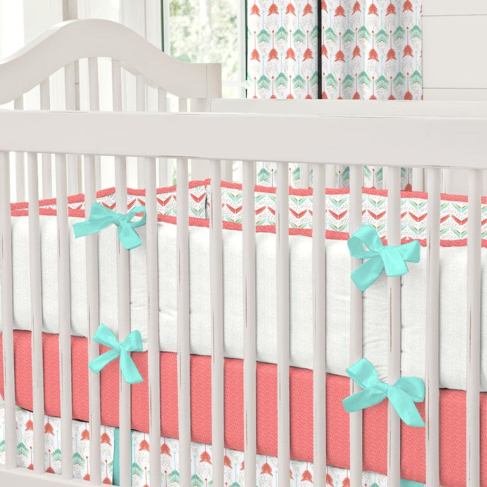 Carousel Designs Coral and Teal Arrow Crib Bumper