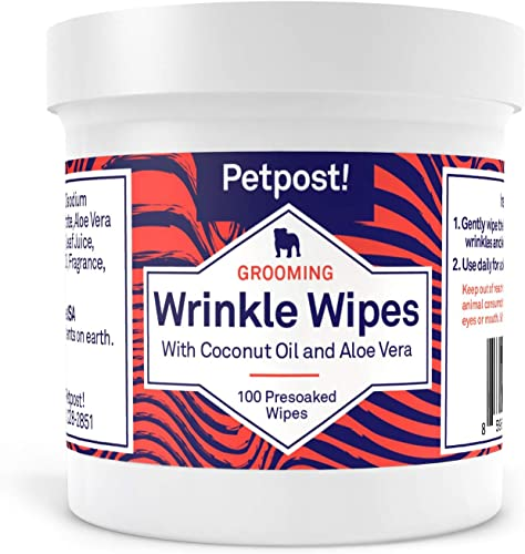 Petpost | Bulldog Wrinkle Wipes for Dogs - Cleans and Soothes Pug Wrinkles and Folds - 100 Ultra Soft Cotton Pads in Coconut Oil Solution