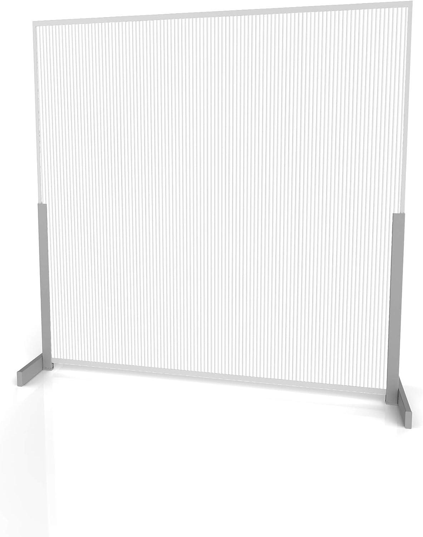 "Linea Italia Polycarbonate Semi-Transparent Office Desk Barrier Sneeze Guard Shield Protection, 31"" x 31"", 31"" x 31"" x 0.188"", Whitefrost"