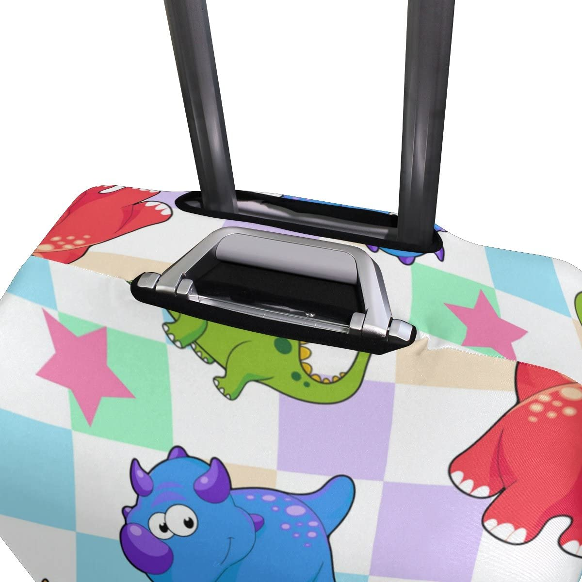 OREZI Luggage Protector Cartoon Dinosaur Pattern Travel Luggage Elastic Cover Suitcase Washable and Durable Anti-Scratch Stretchy Case Cover Fits 18-32 Inches