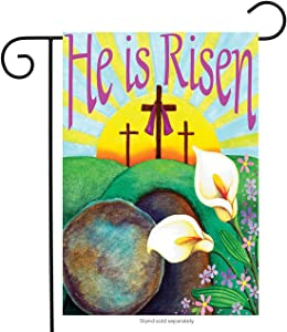 LHSION He is Risen Garden Flag 12.5 x 18 Inch Easter Cross Religious Garden Flag Decorative House Yard Double Sided Flag