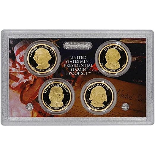 2008 S US Mint Presidential Dollar Proof Set $1 with Box//COA Presidents 5-8
