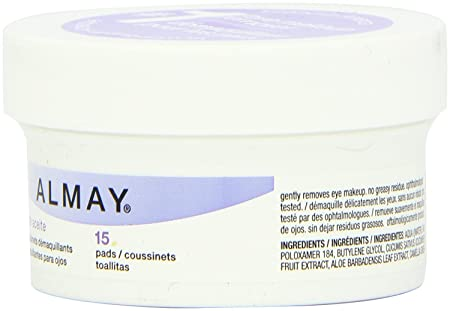 Amazon.com : Almay Eye Makeup Remover Pads - Travel Size - 15 Count Pads Per Container - Pack of 6 Containers : Beauty