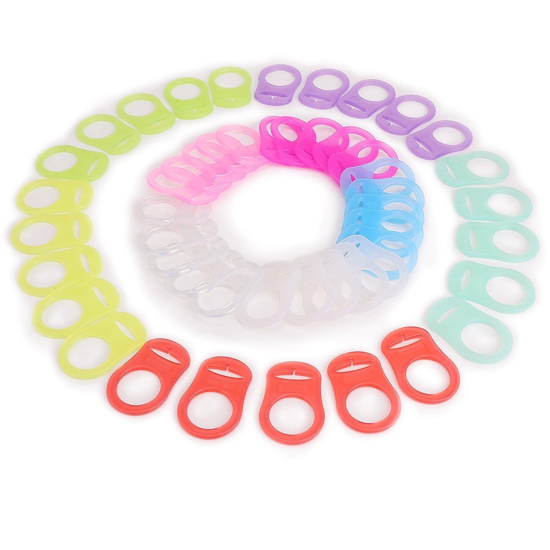 CLE DE TOUS - 50pcs Clip de silicona Baby Babé MAM RINGS DUMMY CLIPS 10 colores