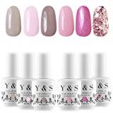 Y&S Soak Off Gel Nail Polish 8ml UV LED Varnish Manicure (#001) Pack of 6