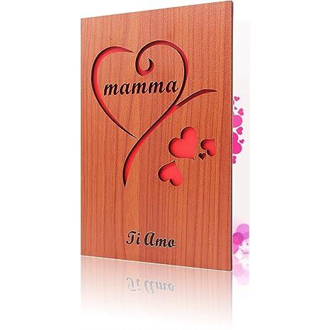 Creawoo Biglietto Auguri Per La Festa Della Mamma In Legno Intagliato Un Pensiero Speciale Per Ogni Mamma Per Compleanno E Altre Occasioni Speciali