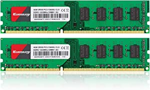 Kuesuny 8GB (2x4GB) DDR3 1333MHz DIMM PC3-10600 UDIMM Non-ECC CL9 240-Pin Desktop Computer RAM Memory Upgrade Kit