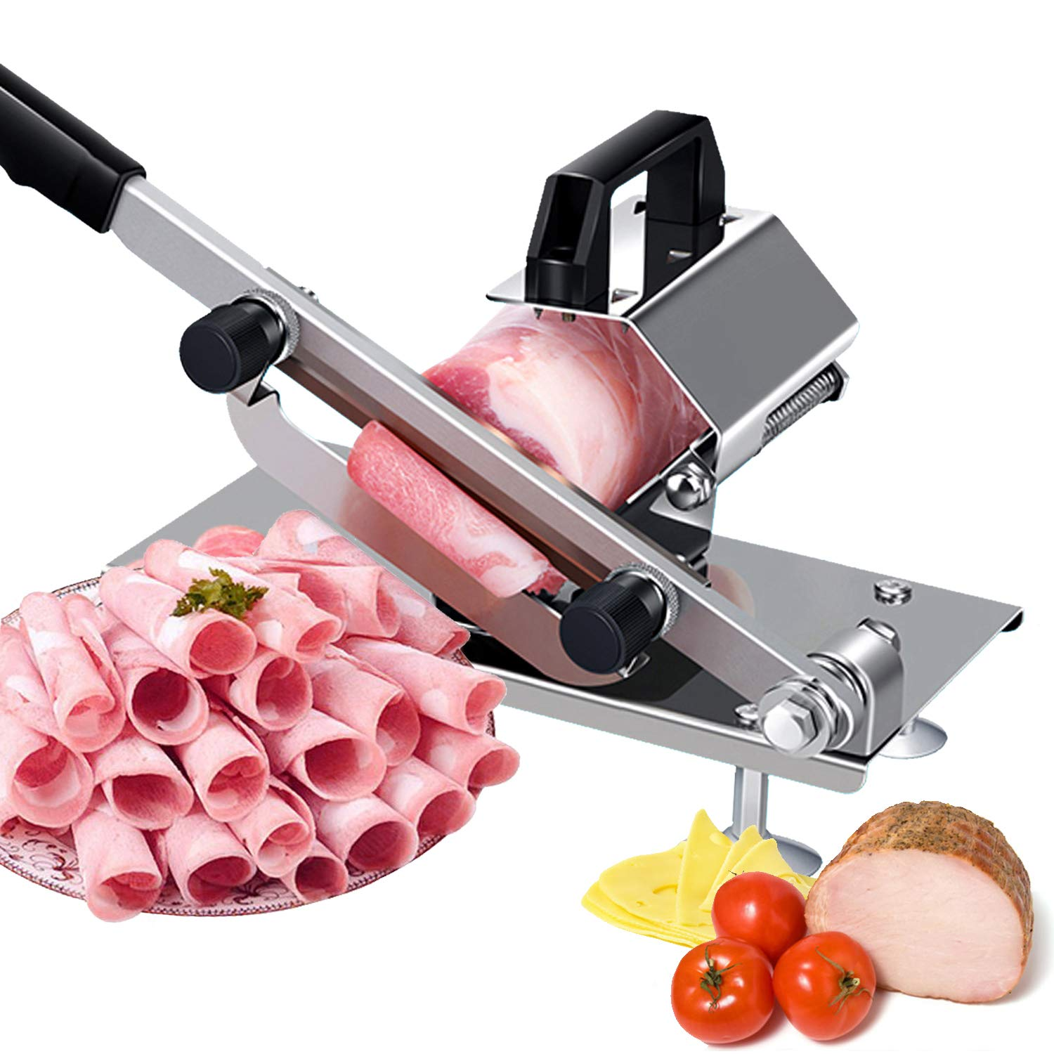 SUPER DEAL Manual Frozen Meat Slicer, Meat Cheese Food Slicer Vegetable Slicing Machine Stainless Steel Meat Cutter Beef Mutton Roll Meat Cleaver for Deli Home Kitchen