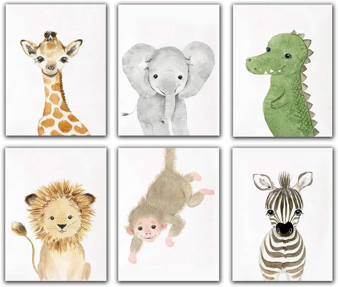 "Little Baby Safari Animals Art Prints Dinosaur Watercolor Nursery Wall Art - Set of 6 (8""x 10"") Unframed Photos - Cute Kids Boys Girls Bedroom Décor"