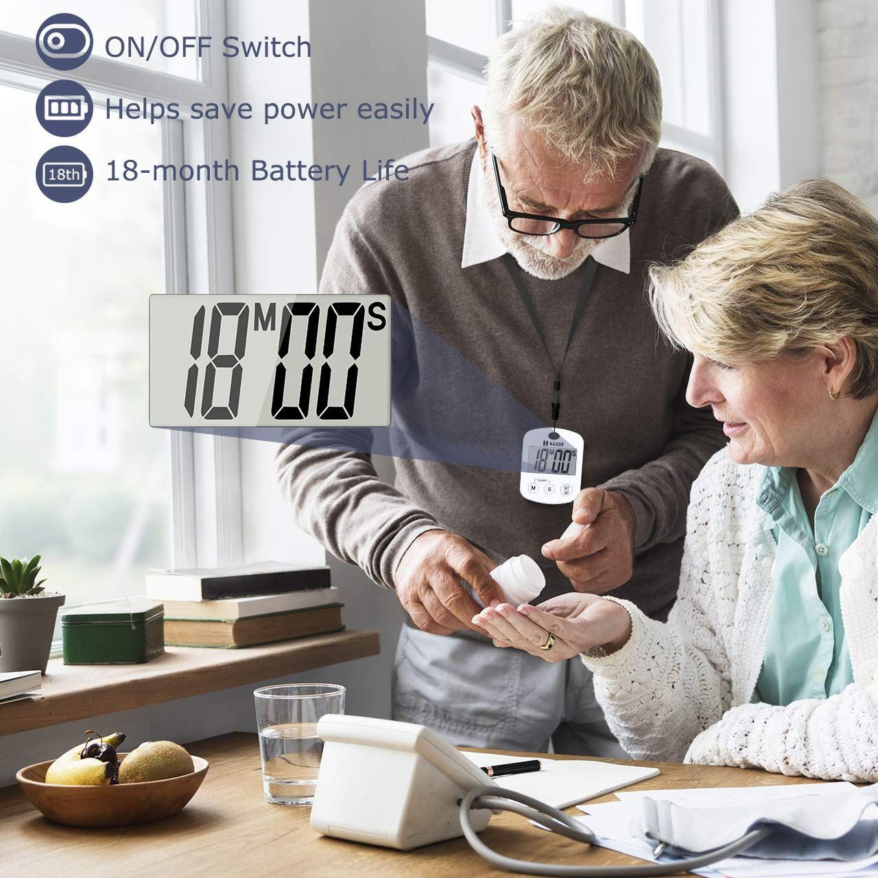 Strong Magnet Back Battery Included ON//OFF Switch Large LCD Screen Kitchen Timer with Loud Beep Habor Digital Cooking Timer Count-Up /& Count Down for Cooking Baking Sports Studying Games