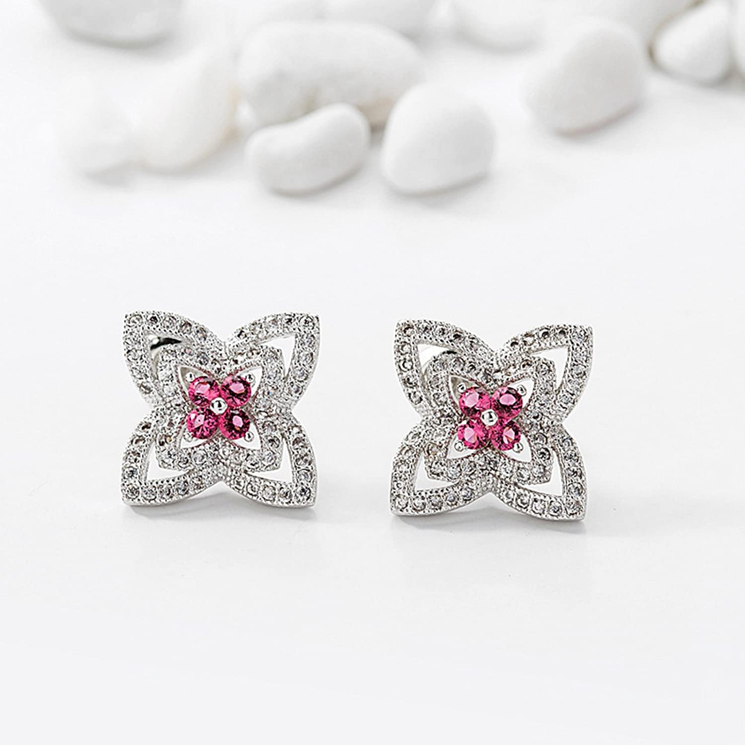 Beydodo Cubic Zirconia Earrings Studs Gold Plated Earrings for Babies Flower Round Red Cubic Zirconia