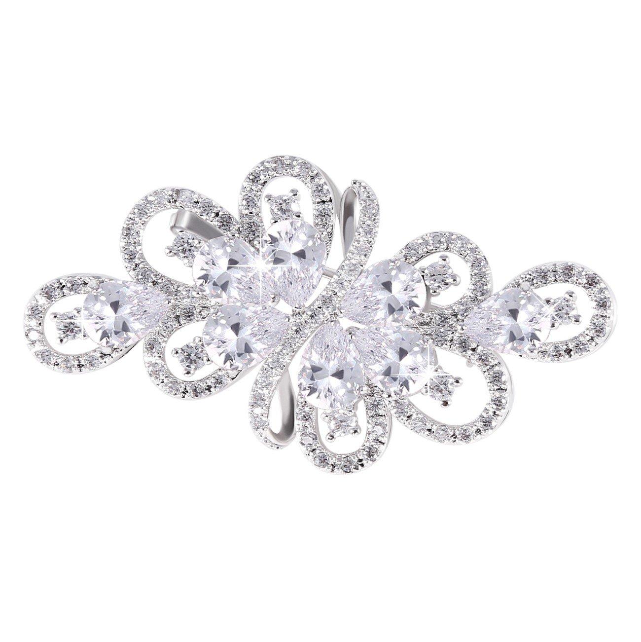 GULICX Bridal Clear Ribbon Bouquet Brooch Silver Tone Zircon Wedding Women Jewelry