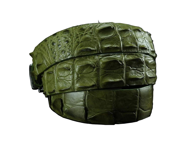 Mens Belt Crocodile leather belts for men WITHOUT JOINTED OLIVE CROCODILE LEATHER SKIN MENS BELT S-XXL