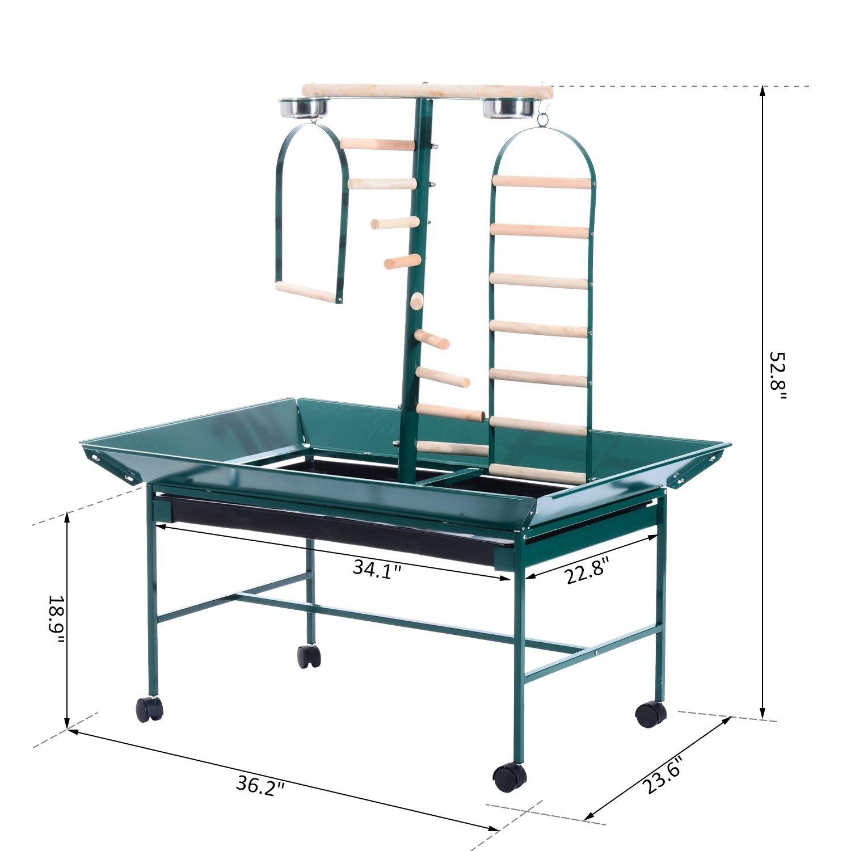 "Green PawHut D10-006 53/"" Bird Play Stand Parrot Pet Gym Perch with Wheel Bowl Ladder Swing"
