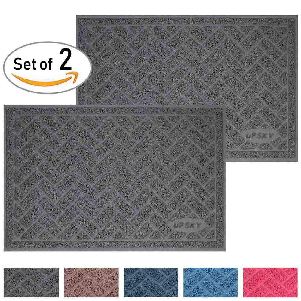 UPSKY Large Cat Litter Mat (24'' x 16'' x 2 Pieces), Premium Traps Litter from Box and Paws, Scatter Control for Litter Box, Soft on Sensitive Kitty Paws, Easy to Clean, Durable - Set of 2