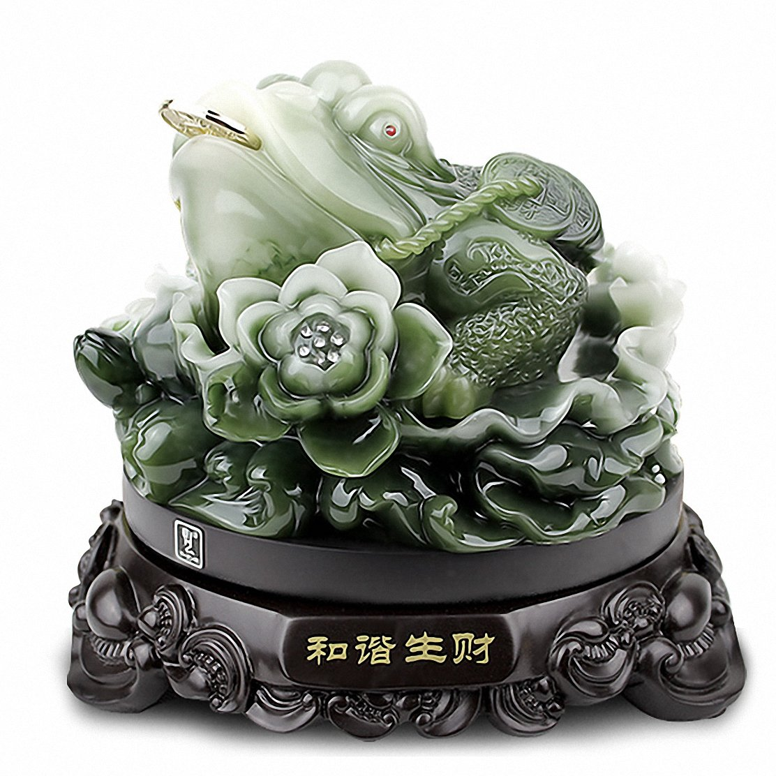 Feng Shui Money Frog Three Legged Wealth Frog or Money Toad Statue,Best Housewarming Congratulatory Gift,Attract Wealth and Good Luck,Feng Shui Decor,10 W x 8.8 H