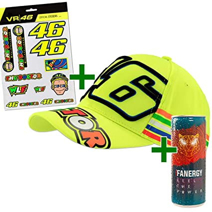 Valentino Rossi VR46 - Juego de Pegatinas con Gorra y Mensaje Energy Drink