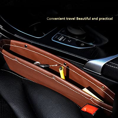 2PCS Gap Box for Vehicle Seat, Slit Box, Slit Storage Box, Automobile Storage Bag, Leather Sundries Box, Vehicle Storage Box