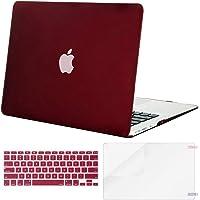 Mosiso Funda Dura Compatible MacBook Air 13 Pulgadas (A1369 / A1466, Versión 2010-2017), Carcasa Rígida de Plástico & Cubierta de Teclado (USA Versión) & Protector de Pantalla, Marsala Rojo