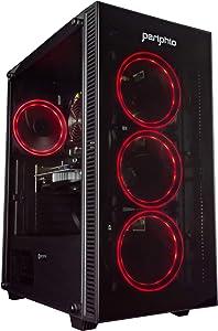 Periphio Red Gaming PC Tower Desktop Computer, Intel Quad Core i7 3.3GHz, 16GB RAM, 512GB SSD + 1TB 7200 RPM HDD, Windows 10, GTX 1650 Super Graphics Card, RGB, HDMI, Wi-Fi (Renewed)