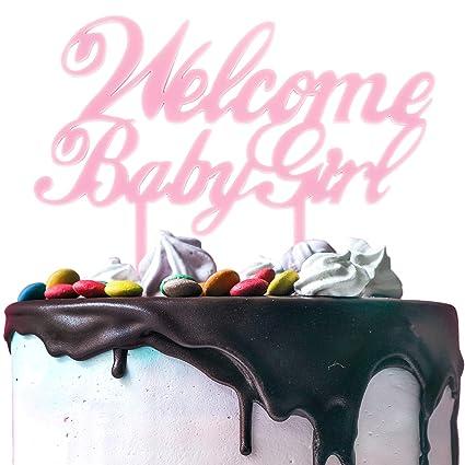 Amazon.com: Bienvenido bebé niña rojo tarta – Baby Shower ...