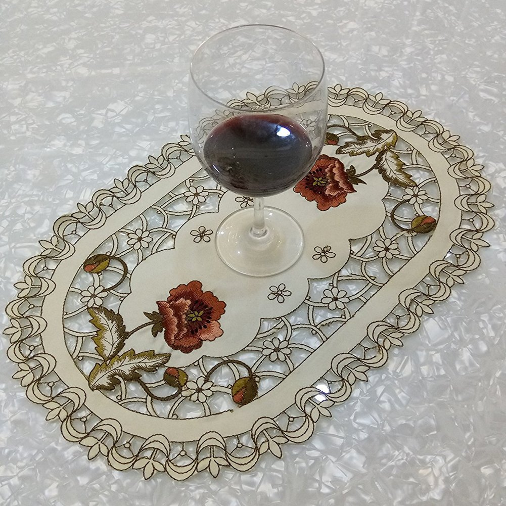 Embroidered Table Placemats 4 Pieces Set - Flower Cutwork Design Luxury Vintage Spring Floral Style