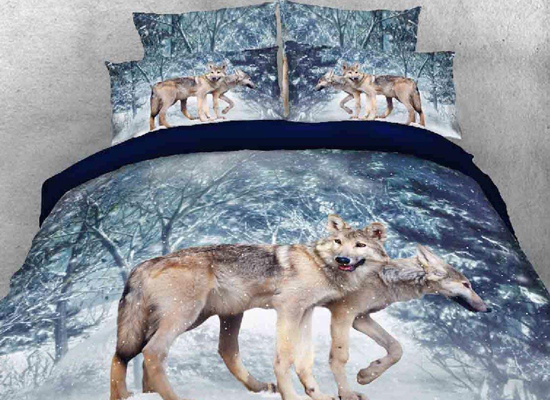 Luckey1 Snow Wolf Print 3D Bedding Sets, Cotton Duvet/ Comforter Cover Bedding Sets Twin/Full/Queen/King 4-Piece, 1 Duvet Cover, 1 Flat Sheet, 2 Pillowcases (Queen, Snow Wolf)