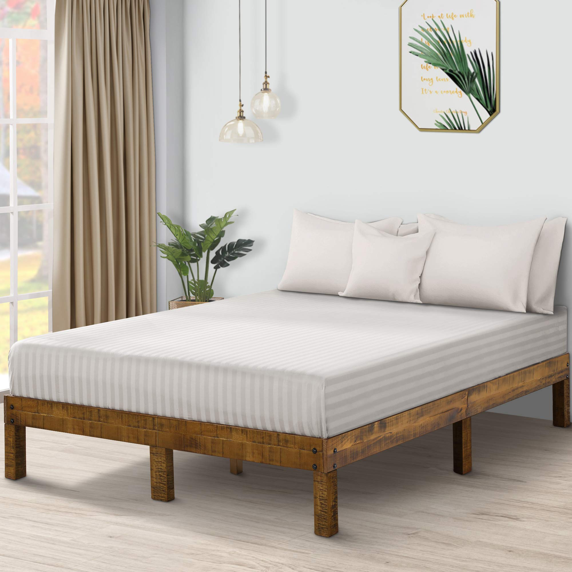 PrimaSleep PR14SF01F-1 14 Inch Solid Wood Platform Bed Frame/Anti-Slip Support/No Box Spring Needed/Easy to Set Up Up, Full, Natural