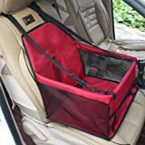 Waterproof Breathable Pet Car Mat Safety Car Seat Belt Cover Booster Bag Pet Carrier Seat Protector Travelling Car Cushion for Dog Cat Pet (Red)