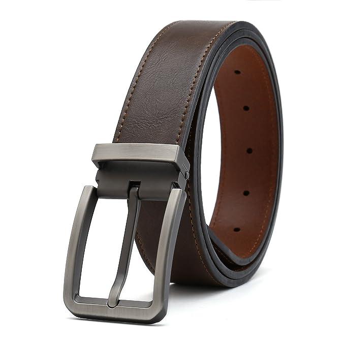 Gurscour Cinturones Hombre Cinturón Reversible de Cuero para ...