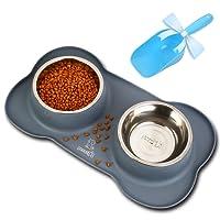 Pecute Ciotole per Cani Gatti in Acciaio Inox con Tappetino Silicone Antiscivolo (M ( 12 once, 350ml /ciotola ))