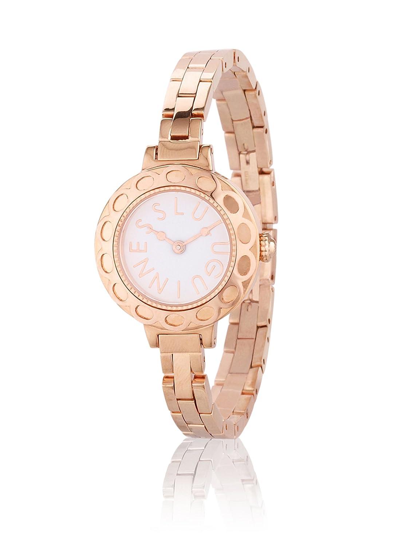 Lulu Guinness Lulu Guinness Bronze women'Armband Armbanduhr Quarz-Uhr mit weißem Zifferblatt Analog-Anzeige und Silber-