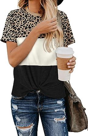 GRMO-Women Casual Color Block Long Sleeve Crew Neck Loose T-Shirt Tops