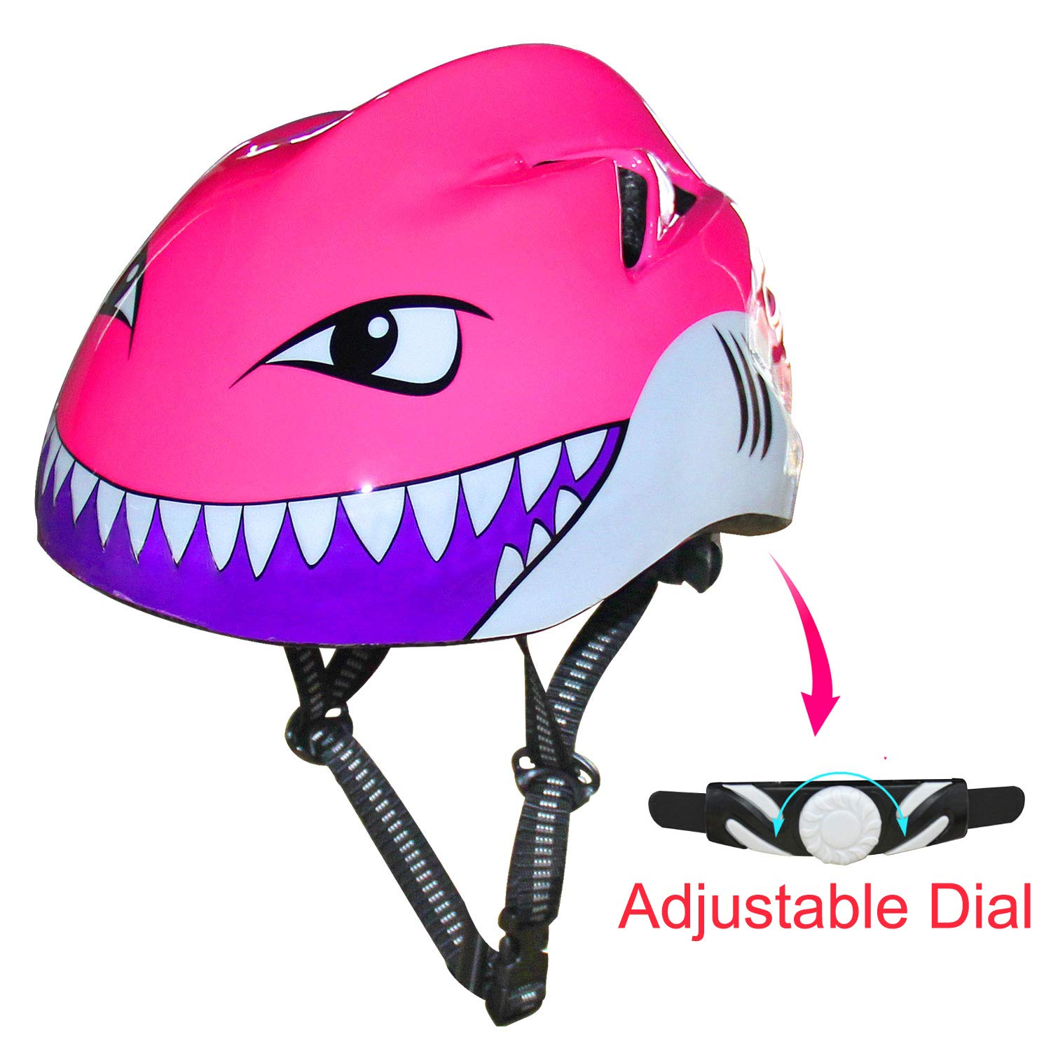 67i Kids Bike Helmet CPSC Certified Adjustable 3D Shark Bicycle Helmets for Toddler and Youth Ages 3-12 Multi-Sport Helmet for Cycling//Skateboard//Scooter//Skating-2 Sizes