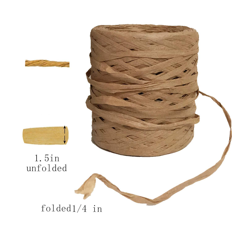 Natural Natural Raffia Paper Ribbon,Kraft Raffia Ribbon,Raffia Paper Twine for Gift Wrapping,1//4 Inch by 218 Yards
