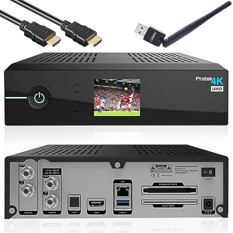 Protek 4K Ultra HD Linux E2 Sat-Receiver HDTV UHD Sat IP USB 3.0 Wifi Gigabit LAN H265 Pip Twin Sat-Tuner DVB-S2 + DVB-S2x in