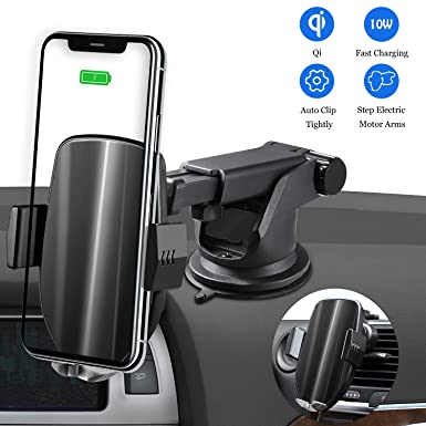 Qi Car Charger, Automatic Clamping Magnetic Phone Car Mount with Air Vent Phone Holder, 10W 7.5W for Samsung Galaxy S10 S9 S8 S7 S6 Edge Note and iPhone Xs Max XR XS X 8 Plus