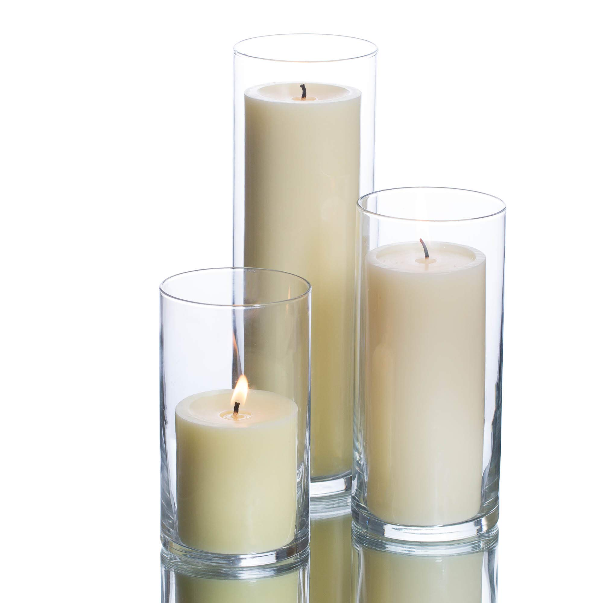 Richland Set of 3 Glass Eastland Cylinder Vases and 3 Ivory Pillar Candles 3''