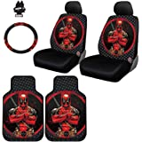 Yupbizauto 8 Pieces Marvel Comic Deadpool Car Seat Covers Floor Mats And Steering Wheel Cover Set