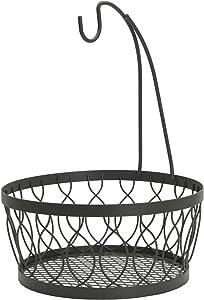 Gourmet Basics by Mikasa Rustic Farmstand Metal Fruit Storage Basket with Banana Hook, Vintage Gray