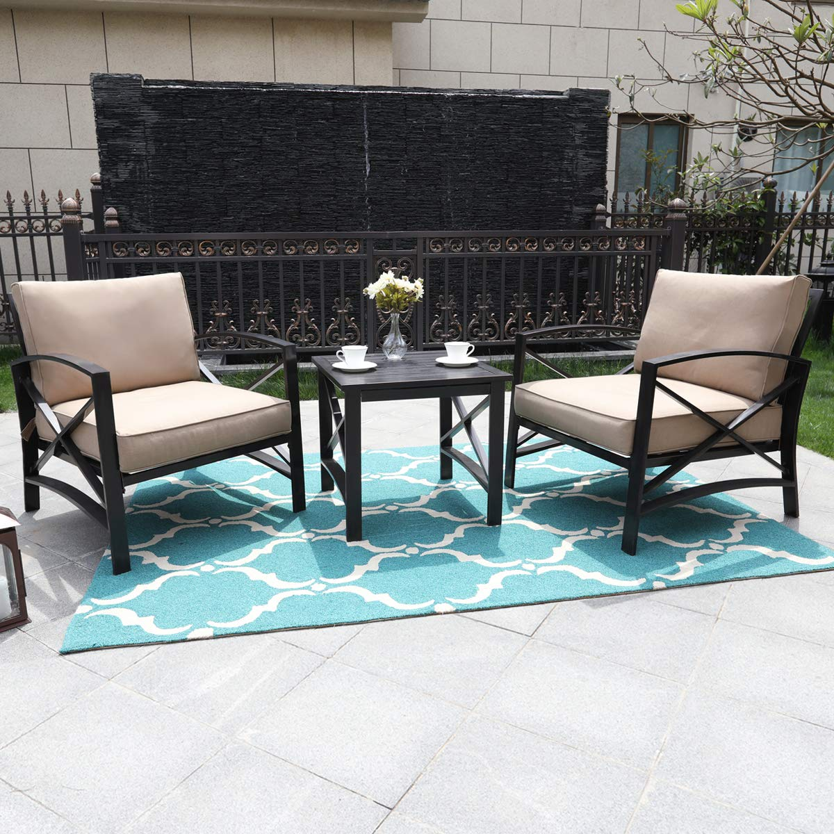 Backyard or Living Room Garden PHI VILLA Outdoor Patio Metal Extra Wide Relaxing Deep Seating Sofa Chairs and Side Table Set of 3 with Thick Cushions fit Porch