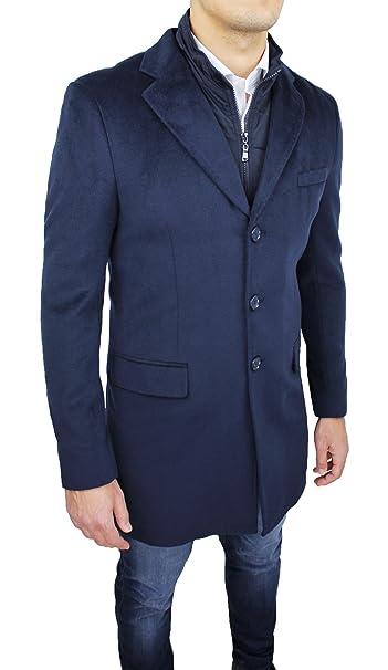 Cappotto Uomo Sartoriale Blu Casual Elegante Slim Fit Giaccone Soprabito  Invernale con Gilet Interno  Amazon.it  Abbigliamento 5c0d44085e6