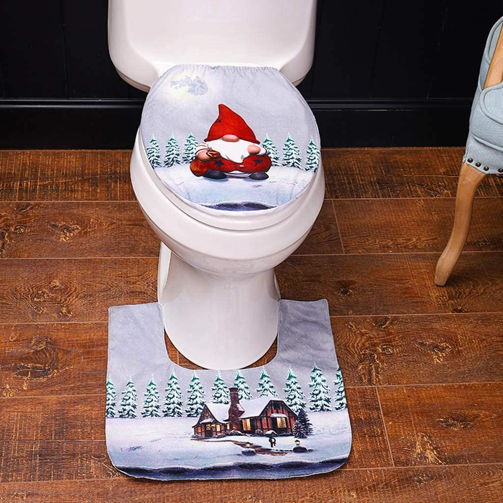NOWON Christmas Toilet Seat Cover Foot Pad Rug Mat Swedish GNOME Santa Bathroom Decor